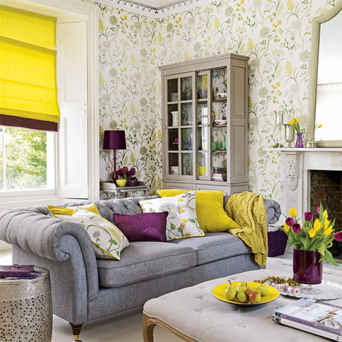 purple and yellow living room via