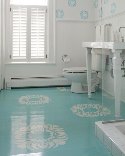 Pops of turquoise redesignedinteriors for Aqua bathroom ideas